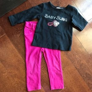 Other - Baby bling sparkle shirt and pink pants 18m